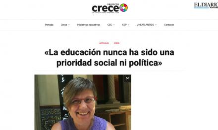 EL DIARIO MONTAÑÉS. LA EDUCACIÓN NUNCA HA SIDO UNA PRIORIDAD SOCIAL NI POLÍTICA
